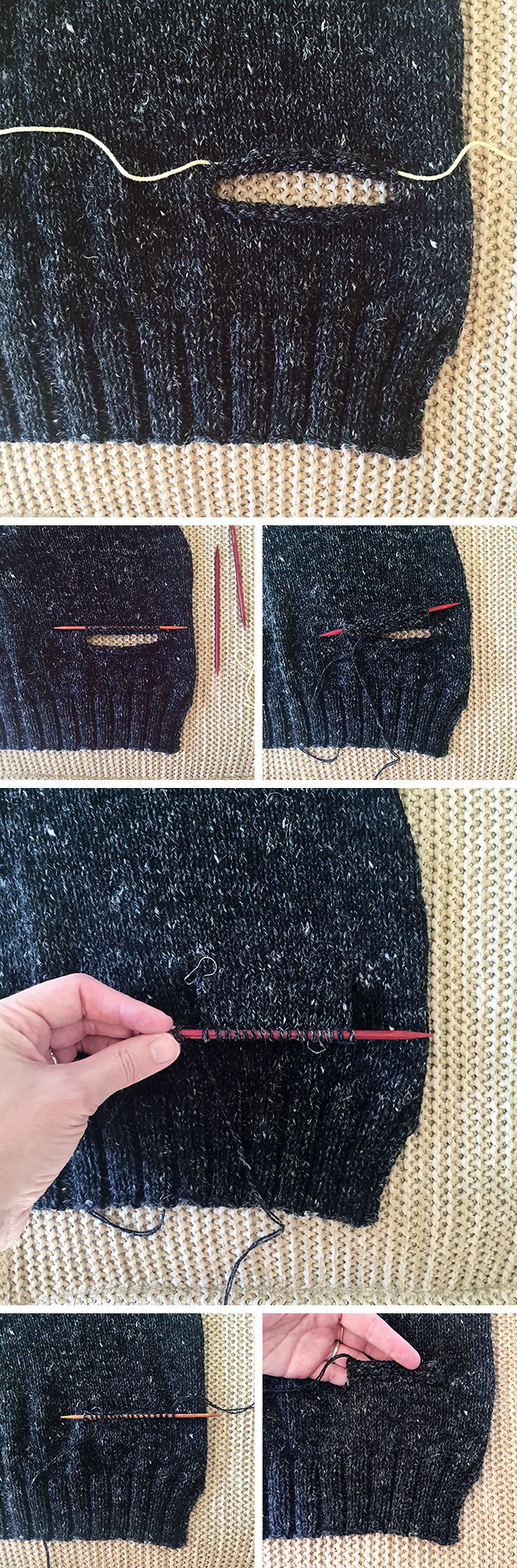 How to knit inset pockets (top down) Fringe Association